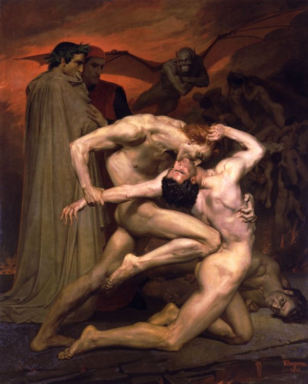 Bouguereau, William Adolphe: Dante and Virgil in Hell. Fine Art Print/Poster. Sizes: A4/A3/A2/A1 (00444)